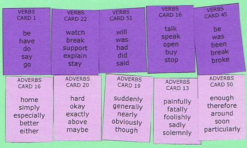 Sentence Master Practice Adverb Cards for English grammar adverb writing exercises