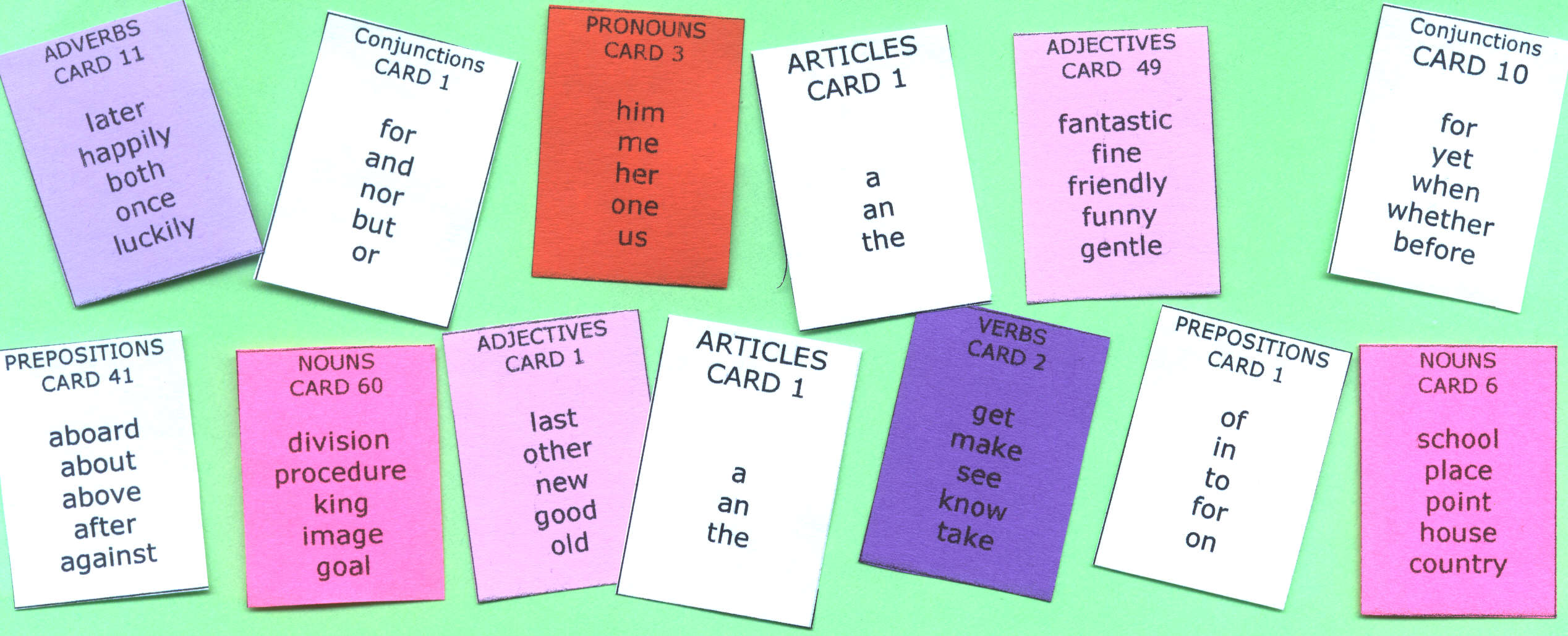 Sentence Master Practice Word Cards include Conjunction Cards, Article Cards, Verb Cards, Noun Cards, Pronoun Cards, Preposition Cards, Adverb Cards and Adjective Cards 