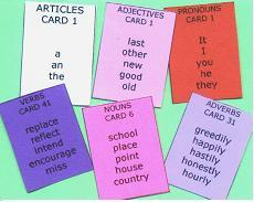 Sentence Master English Writing Practice Challenge 1a has 6 word cards to practice writing complete sentences