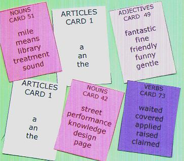 Sentence Master English Writing Practice Challenge 2a has 6 word cards to practice writing complete sentences