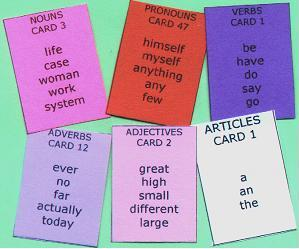Sentence Master Practice Word Cards include Conjunction Cards, Article Cards, Verb Cards, Noun Cards, 