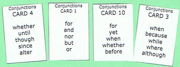 Sentence Master Practice Word Cards include Conjunction Cards for the English grammar conjunction writing exercises