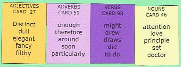 Sentence Master Practice Adjective and Noun Cards for English grammar Adjective and Noun writing exercises