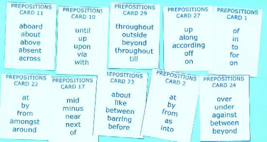Sentence Master Practice Preposition Cards for English grammar preposition writing exercises