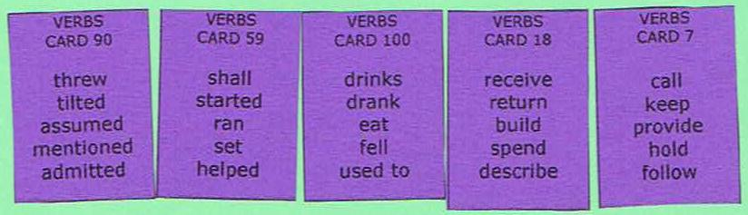 Sentence Master Practice Verb Cards for English grammar verb writing exercises